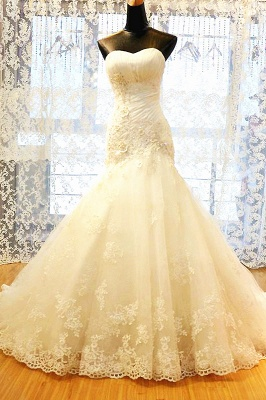 White Sweetheart Mermaid Wedding Dresses Applique Lace-Up Sexy  Bridal Gowns_1
