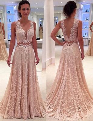 V-neck Full Lace Evening Gowns Sleeveless Elegant Long Formal Prom Dress_1