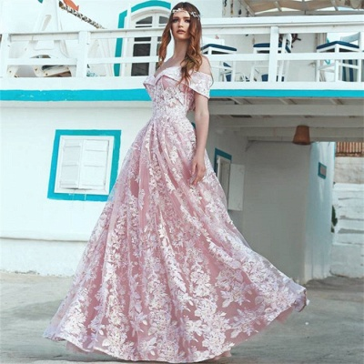 Elegant Pink Off Shoulder Evening Dresses  |  A-Line Lace Long Formal Dress_3