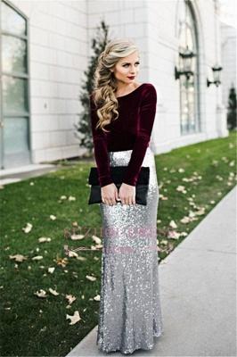 Burgundy Velvet Long Sleeves Prom Dress Winter Silver Sequined  Evening Dresses BA3601_1
