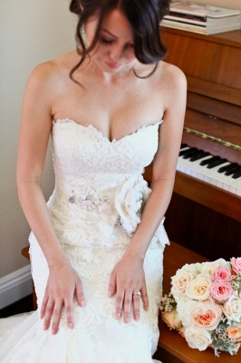 Sexy Mermaid Sweetheart Lace Wedding Dress Formal White Flower Long Bridal Gowns_4