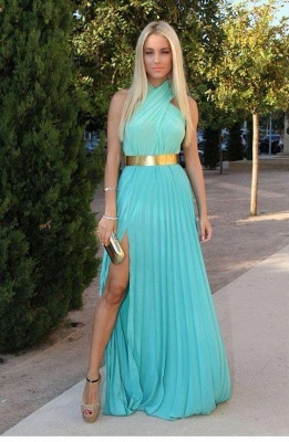 Sexy Chiffon Side Slit  Long Prom Dress with Gold Belt_1
