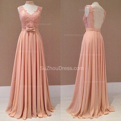 Popular Pink Chiffon Evening Dresses Backless Lace Appliques Sash Bowknot  Prom Dresse_2