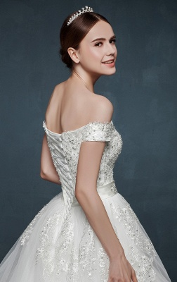Royal Off the Shoulder Princess Ball Gown Wedding Dresses Lace Up Romantic Palace Custom Made Bridal Dresses_4
