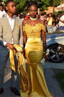 Off The Shoulder Gold Prom Dress with Choker | Lace Mermaid Sexy Long Evening Dress FB0318_1