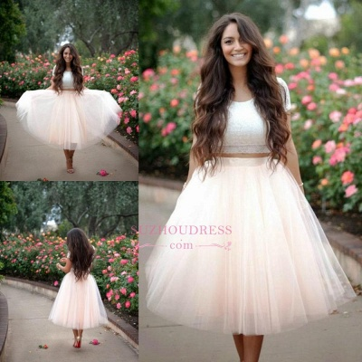 A-line Two Pieces Tulle Short Sleeves Lace  Homecoming Dress_3