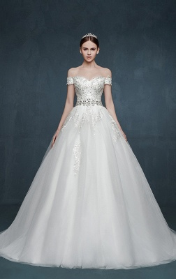 Royal Off the Shoulder Princess Ball Gown Wedding Dresses Lace Up Romantic Palace Custom Made Bridal Dresses_1