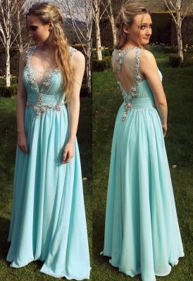 Chiffon A-Line Empire Prom Dress Halter Floor Length Ruffles Evening Gown_1
