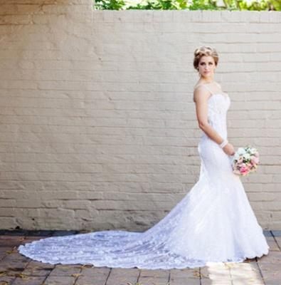Vintage Spaghetti Strap Mermaid Wedding Dress New Arrival Lace Court Train Bridal Gown_3