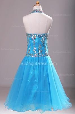 Blue Knee-Length Flower Girl Dresses colorful sequins rhinestone crystal halter backless Pageant Dress_5