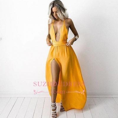 Deep Neck Yellow Halter Evening Dresses  Side Slit Sexy V Neck Party Dresses_3