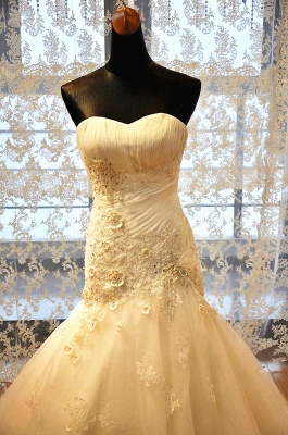 White Sweetheart Mermaid Wedding Dresses Applique Lace-Up Sexy  Bridal Gowns_3