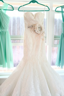 Sexy Mermaid Sweetheart Lace Wedding Dress Formal White Flower Long Bridal Gowns_3