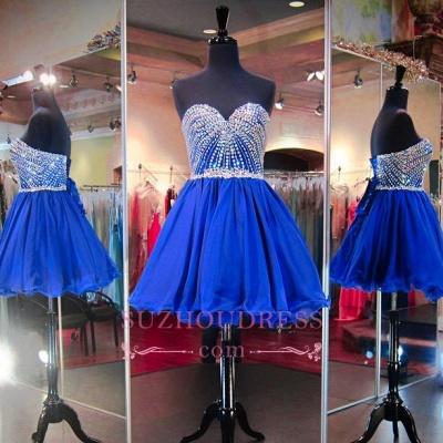 Lace-Up Crystal Sweetheart Blue Mini Homecoming Dresses BA3829_1