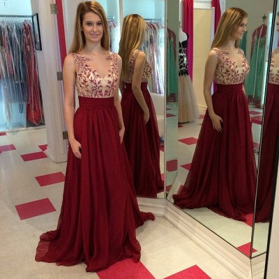 Burgundy Chiffon Sleeveless Sheer  Evening Dresses Applique Satin Backless Prom Gowns_2