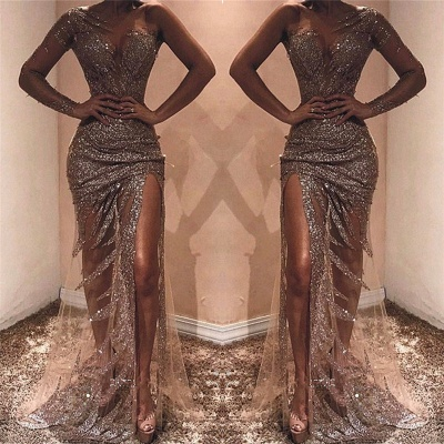 One Shoulder See Through Sexy Evening Dresses | Sexy Side Slit Sequins  Prom Dresses 2019_3