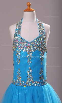 Blue Knee-Length Flower Girl Dresses colorful sequins rhinestone crystal halter backless Pageant Dress_2