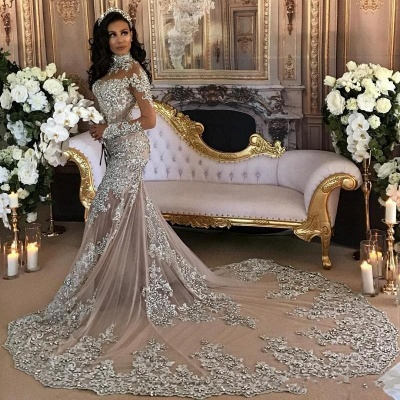 Long Sleeve Silver High Neck Popular Evening Dress Lace Mermaid  Luxury Wedding Dresses BH-362_4