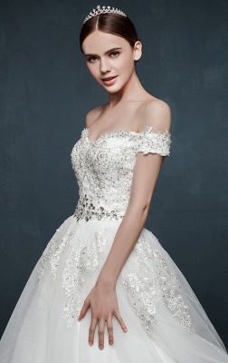 Royal Off the Shoulder Princess Ball Gown Wedding Dresses Lace Up Romantic Palace Custom Made Bridal Dresses_5