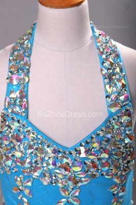 Blue Knee-Length Flower Girl Dresses colorful sequins rhinestone crystal halter backless Pageant Dress_3