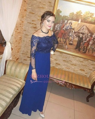 Royal Blue Off the Shoulder Sheath Prom Dresses  | Long Sleeves Appliques Evening Gowns_1