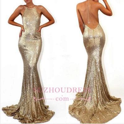 Sleeveless Halter  Formal Dress Mermaid Sweep-Train Stunning Sequined Prom Dress_1