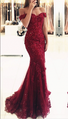 Glamorous Mermaid Lace Prom Dress  Off-the-shoulder Red Appliques Evening Dress_3