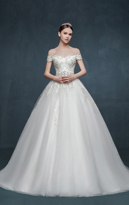 Royal Off the Shoulder Princess Ball Gown Wedding Dresses Lace Up Romantic Palace Custom Made Bridal Dresses_2