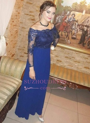 Royal Blue Off the Shoulder Sheath Prom Dresses  | Long Sleeves Appliques Evening Gowns_3