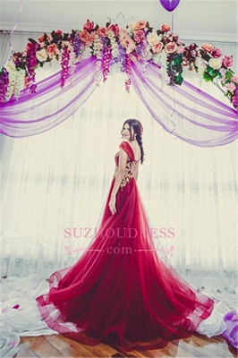 New Arrival Tulle Off-the-Shoulder A-line Appliques Bridesmaid Dress_1