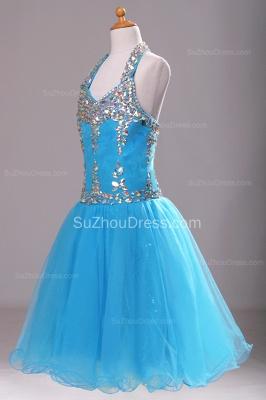 Blue Knee-Length Flower Girl Dresses colorful sequins rhinestone crystal halter backless Pageant Dress_4
