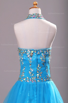 Blue Knee-Length Flower Girl Dresses colorful sequins rhinestone crystal halter backless Pageant Dress_6