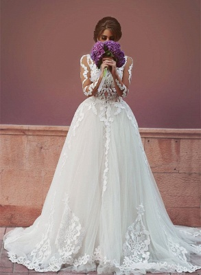 Sheer Long Sleeve Romantic Wedding Dress with Lace Appliques Backless Long Train Bridal Gowns_1