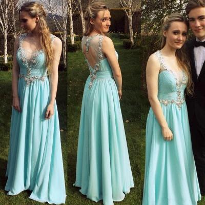 Chiffon A-Line Empire Prom Dress Halter Floor Length Ruffles Evening Gown_3