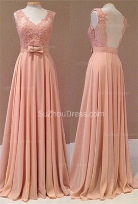 Popular Pink Chiffon Evening Dresses Backless Lace Appliques Sash Bowknot  Prom Dresse_1