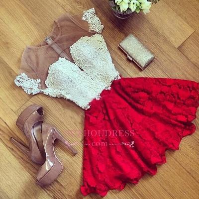 Cute Illusion Short Lace Short-Sleeve Homecoming Dress_1