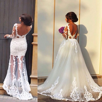 Sheer Long Sleeve Romantic Wedding Dress with Lace Appliques Backless Long Train Bridal Gowns_2