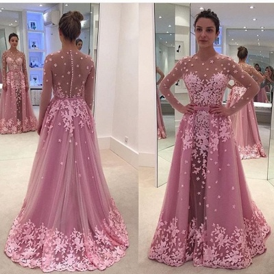 Candy Pink Long Sleeve Prom Dress Lace Appliques Overskirt  Evening Gown BA7077_3