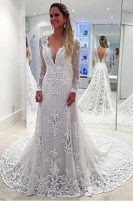 Affordable Sweep Train White Lace Wedding Dresses Long Sleeves Appliques Bridal Gowns Online_1