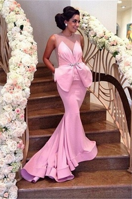 Pink Prom Dress Backless Mermaid Long Evening Dress_1