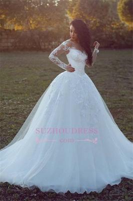 Long-Sleeves Appliques Glamorous Tulle Ball Wedding Dress qq0308_2
