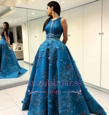 Elegant Sleeveless Princess Evening Dress  | A-Line Open Back Prom Dresses with Flowers_3