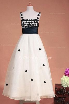 White Flower Girl Dresses Scoop Flowers Beading Lovely Sweep Train Zipper Organza Pageant Dress_2