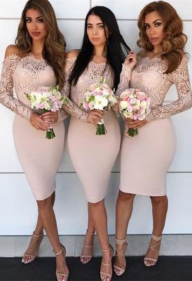 Long-Sleeve Lace Bridesmaid Dress   Knee-Length Sheath Maid of Honor Dress_1