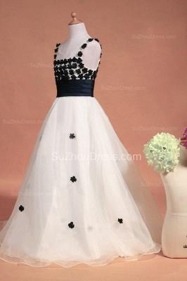 White Flower Girl Dresses Scoop Flowers Beading Lovely Sweep Train Zipper Organza Pageant Dress_5