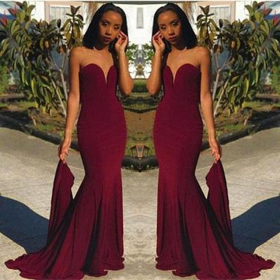 Sweetheart Sheath  Burgundy Prom Dress |  Strapless Long Evening Dress_3