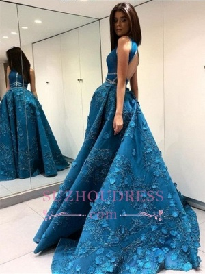 Elegant Sleeveless Princess Evening Dress  | A-Line Open Back Prom Dresses with Flowers_4