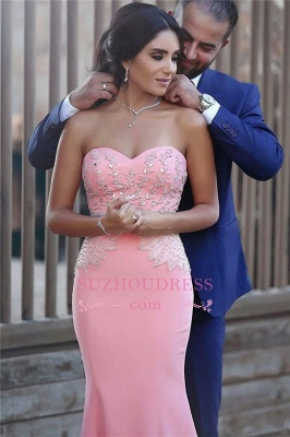 Pretty Sleeveless Mermaid Evening Dress  Sequins Beads Pink Crystals Sweetheart Prom Dress_1