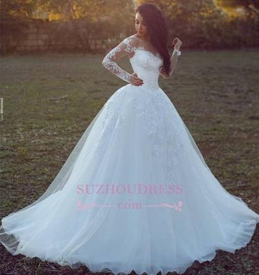 Long-Sleeves Appliques Glamorous Tulle Ball Wedding Dress qq0308_1