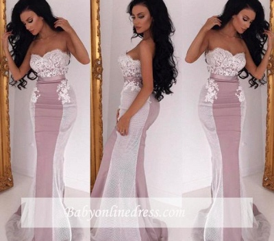 Lace Sweep Train Sleeveless Sweetheart Evening Gowns  Sexy Mermaid Bridesmaid Dress_3